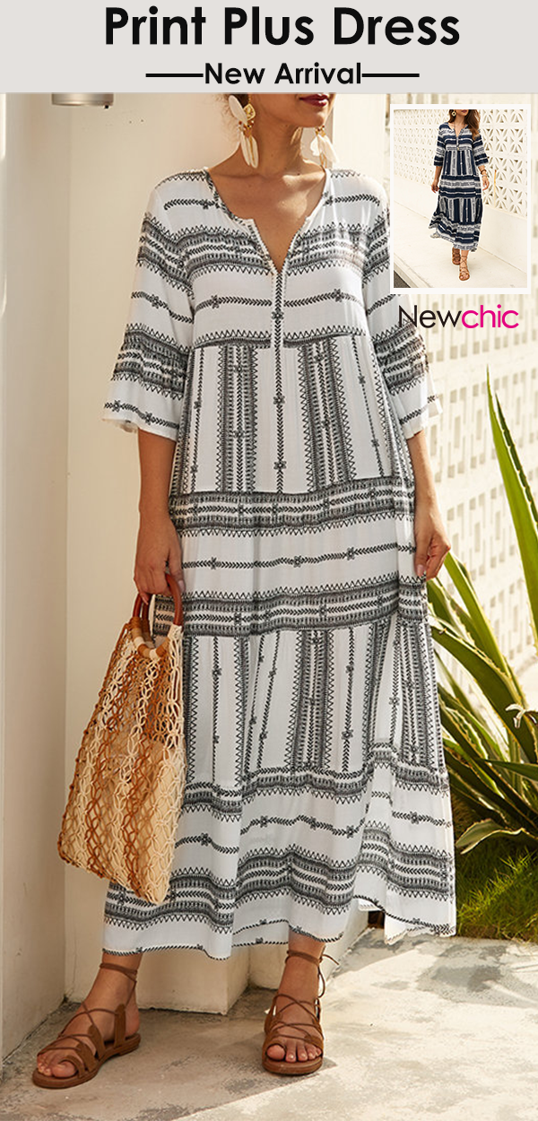 #Casual# Print V-neck Summer Maxi Dress #YCOSIC#