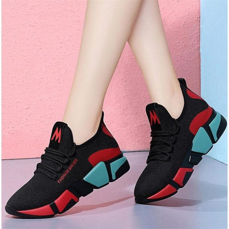 Casual Shoes Fashion Breathable Walking Mesh Lace Up Flat Shoes Sneakers Vulcanized Shoes