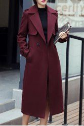 Casual Turn-Down Collar Long Sleeves Solid Color Worsted Coat For Women – WINE R…