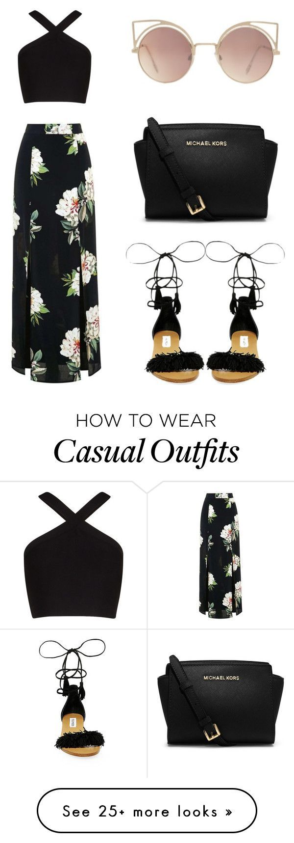 Casual by rhianna-alexandre on Polyvore featuring Topshop, BCBGMAXAZRIA, Steve Madden, MICHAEL Michael Kors and MANGO