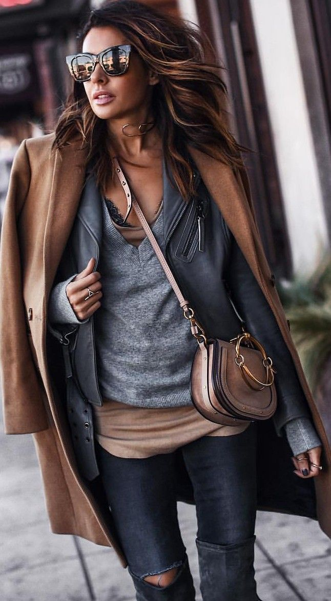 Casual layering. Casual street style outfit inspiration. Brown and grey color co