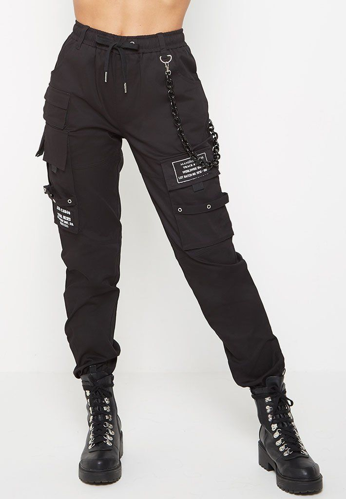 Chain Detail Cargo Pants – Black | Giftry
