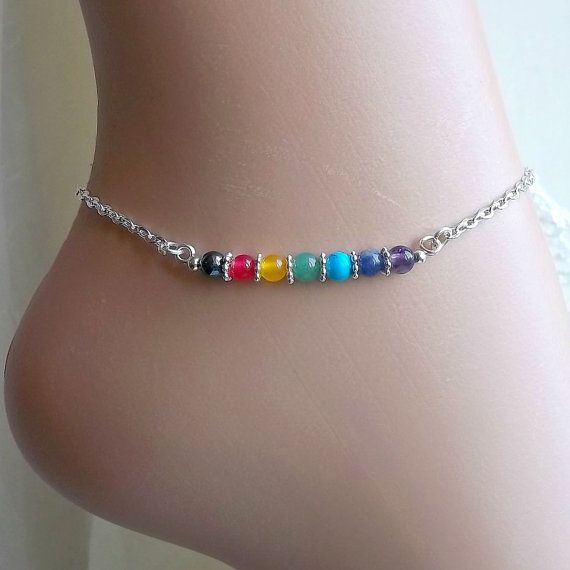 Chakra Anklet, Ankle Chain, Ankle Bracelet, Gemstone, Beaded Anklet, Wellbeing, Boho, Bohemian, Hippie, Resort, Holiday, Vacation, Beach