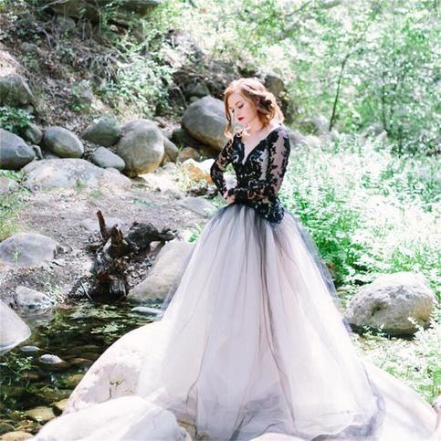 Charming Black Prom Dress, Newest Elegant Fashion Prom Dress, Custom Lace Wedding Dress , WD1702