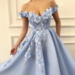 Charming Blue Tulle Flower Long Prom Dresses, Sexy Blue Evening Party Dress L6058
