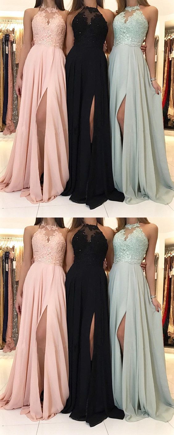 Charming Lace Halter Long Chiffon Split Evening Gowns Formal Prom Dresses