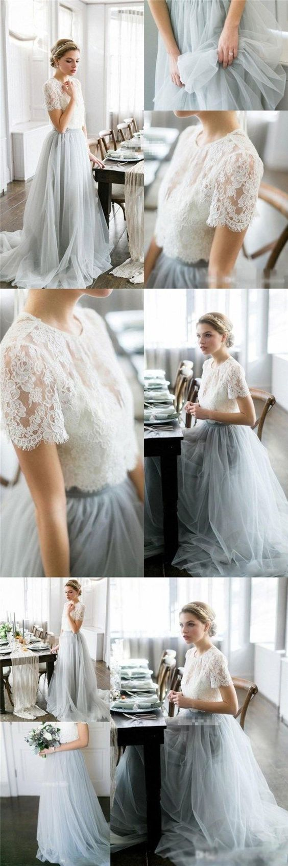 Charming Lace Prom Dress, Tulle Two Pieces Party Dress