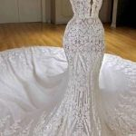 Charming Mermaid Beading Wedding Dresses | Sweetheart Neck Ruffles Skirt Bridal Gowns