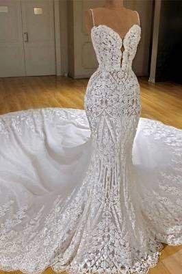 Charming Mermaid Beading Wedding Dresses | Sweetheart Neck Ruffles Skirt Bridal Gowns