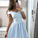 Cheap Off The Shoulder Simple V Neck A Line Short Homecoming Dress, BTW164 Cheap Off The Shoulder Simple V Neck A Line Short Homecoming Dress, BTW164