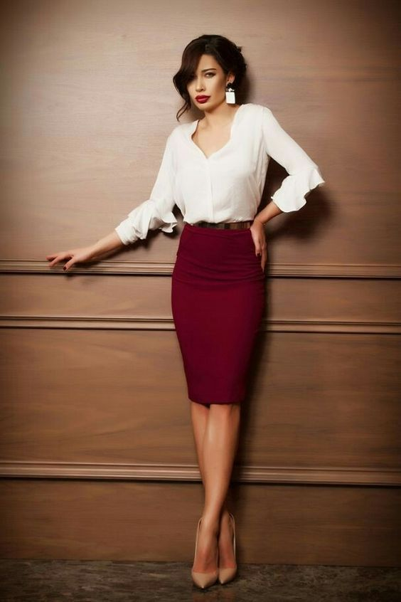 Check latest pencil skirt outfits for work business professional attire, pencil