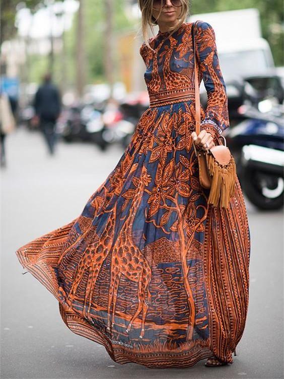 Chiffon Print Long-Sleeved Vintage Maxi Dress