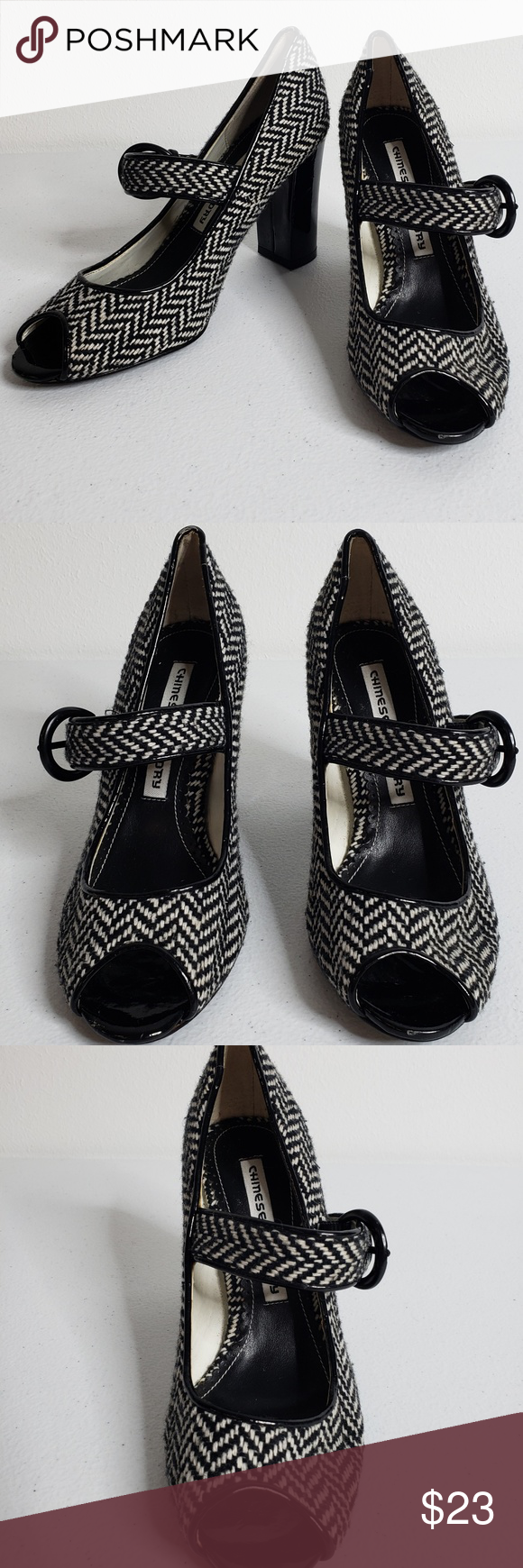 Chinese Laundry Chevron Peep Toe Block Heels Sz 6M Chinese Laundry Black and Whi…