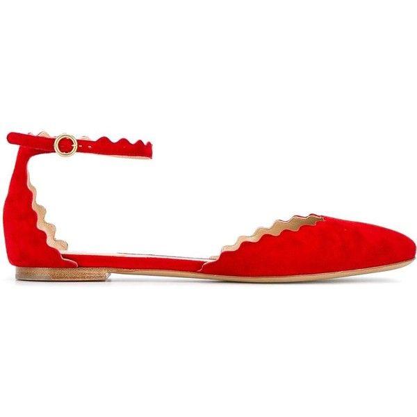 Chloé Lauren flat pumps ($298) ❤ liked on Polyvore featuring shoes, pumps, re…