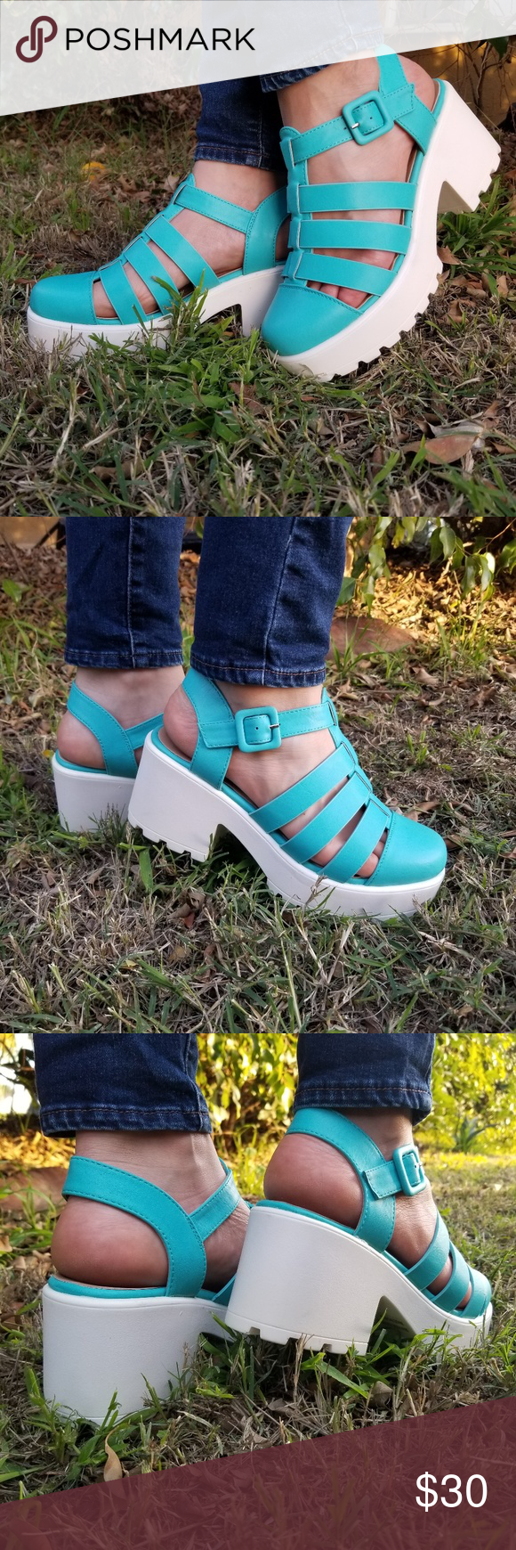 Chunky 90's Blue Grunge Summer Shoes – Be ready to look gorgeous and feel comfor…