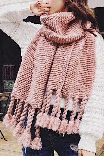 Chunky Knit Long Fringe Scarf