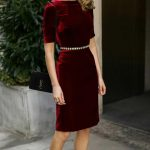 Click for outfit details!  Red velvet sheath dress, embellished black waist belt...