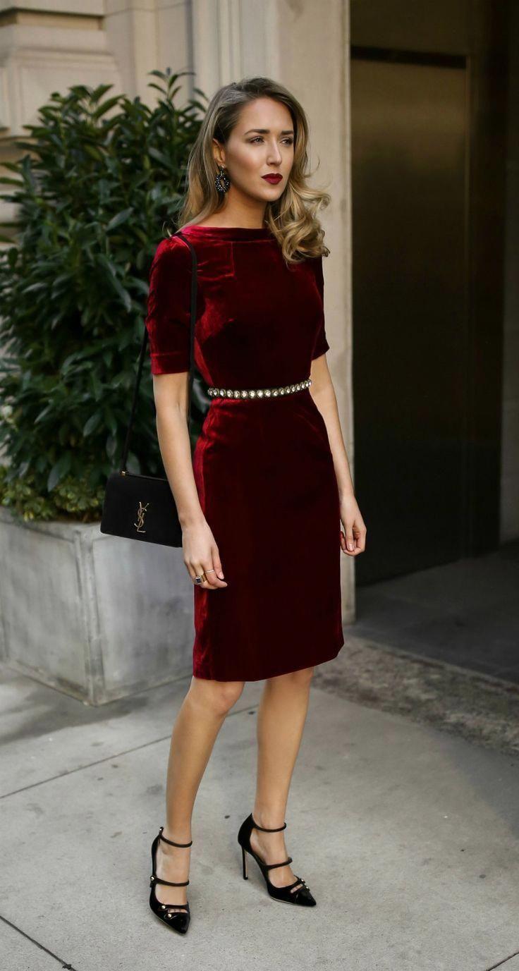 Click for outfit details!  Red velvet sheath dress, embellished black waist belt…