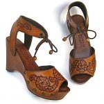 Clog Shoe Tooled Flower Bohemian Wedge Handmade Custom Order ALL SIZES available