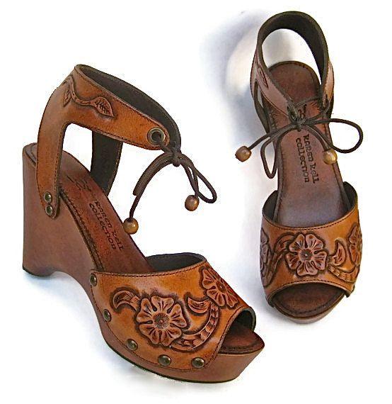 Clog Shoe Tooled Flower Bohemian Wedge Handmade Custom Order ALL SIZES available