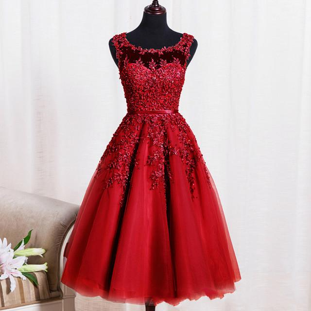 Cocktail Dress Red Zipper Back A-line Formal Wedding Party Dress Pearl Beading Reception Gowns
