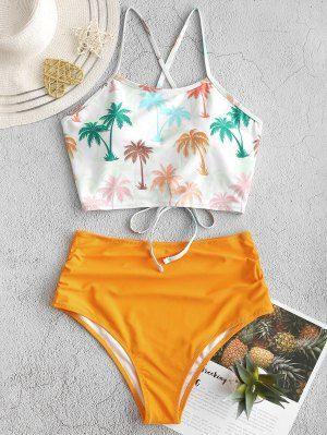 Coconut Palm Lace Up Tummy Control Tankini Swimsuit MULTI-A