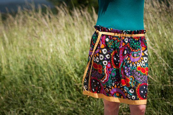 Colorful Ethno Circle Skirt for Summer, Cotton Beach Skirt for Women