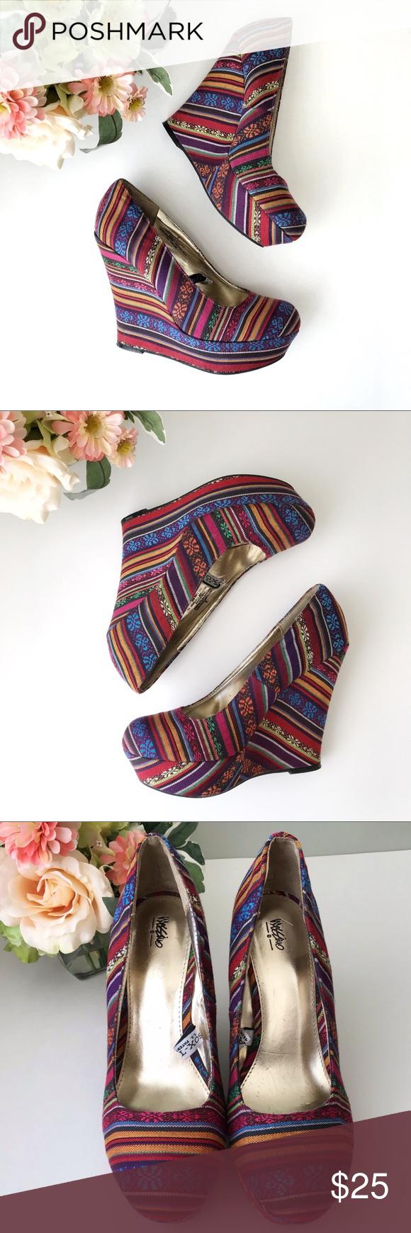 Colorful Fiesta Mossimo wedge platform heels * Colorful Mossimo wedge platform h…