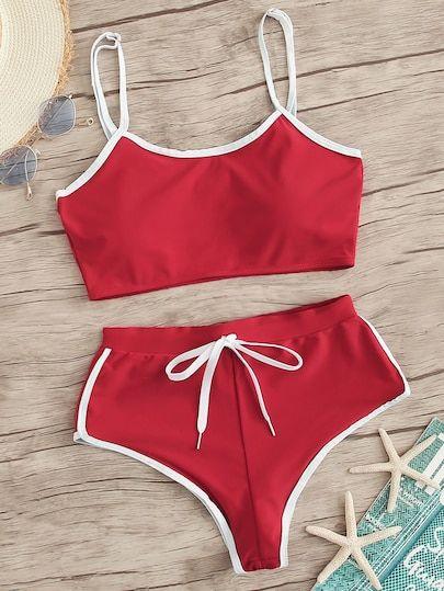Contrast Trim Top With Drawstring Panty Bikini Set [swswim03190411821] – $28.00