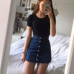 Cool 46 Elegant Denim Skirts Outfits Ideas. More at luvlyfashion.com
