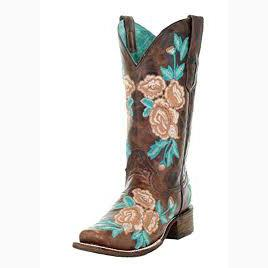 Corral Pink and Turquoise Flowered Square Toe Boot
