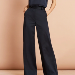 Cotton Sateen Wide-Leg Pants