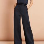 Cotton Sateen Wide-Leg Pants