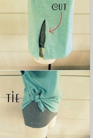 Could be a solution for oversized shirts, or just to make your boring t-shirt (o…
