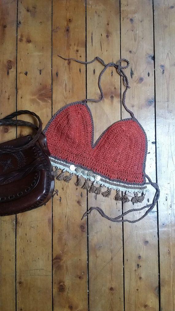 Crochet bralet bralette boho festival clothing folk clothes summer fashion feminine burnt orange earthy muted tones Dolly Topsy Etsy UK