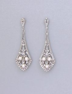 Crystal Pearl Bridal Chandelier Earrings, Vintage Deco Style Chandelier Earrings, EMILY