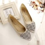 Crystal Rhinestones Pointed Toe Slip On Women Flat Shoes
