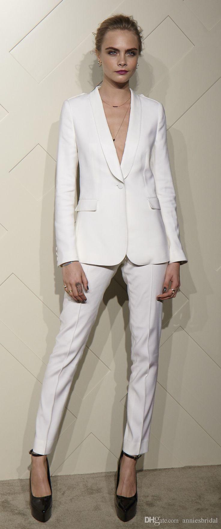 Custom Fashion White Women Tuxedos Shawl Lapel Suits For Women One Button Busine…