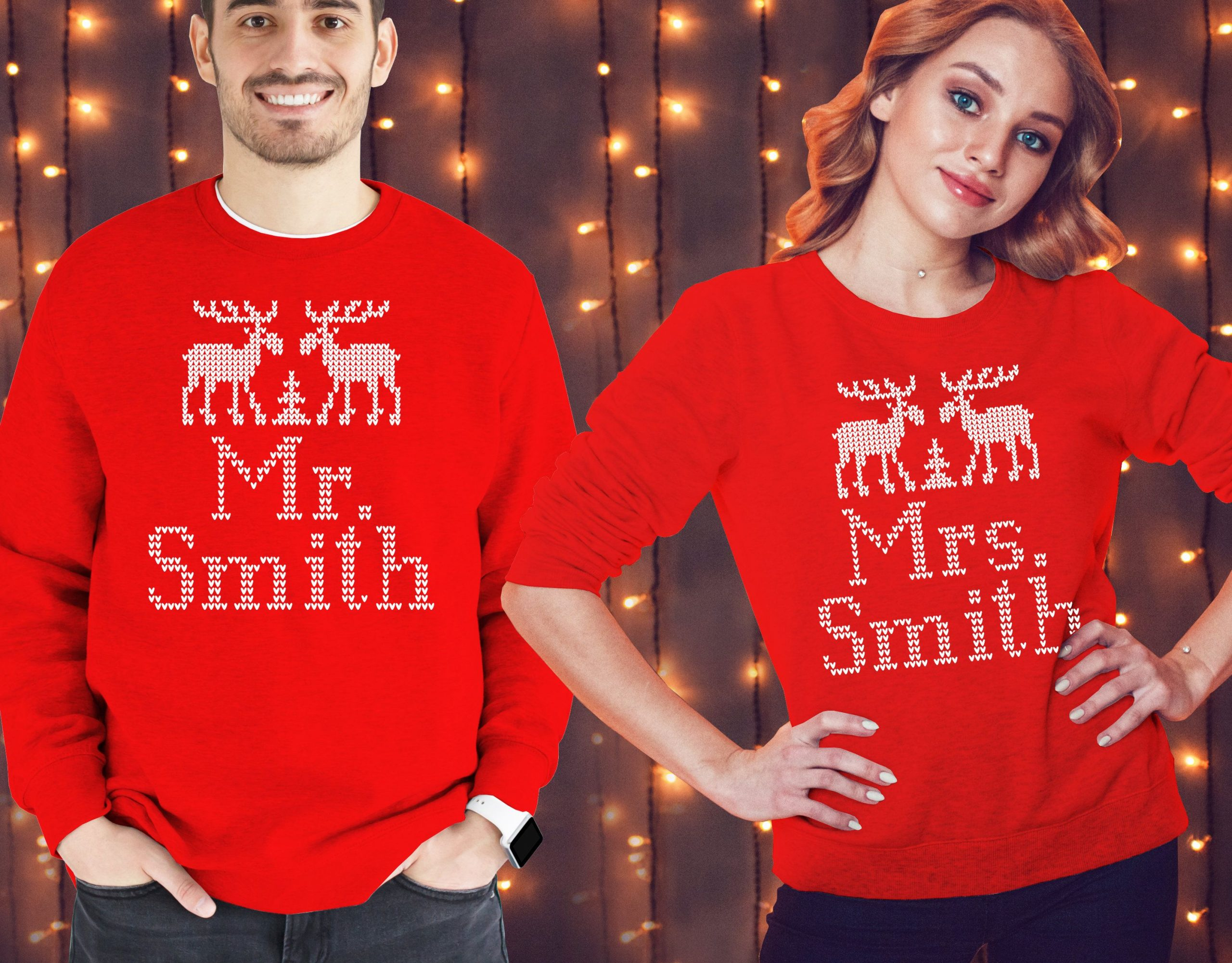 Custom Scandinavian Nordic style design Mr. and Mrs. Christmas his and her matching red jumpers sweatshirts set
