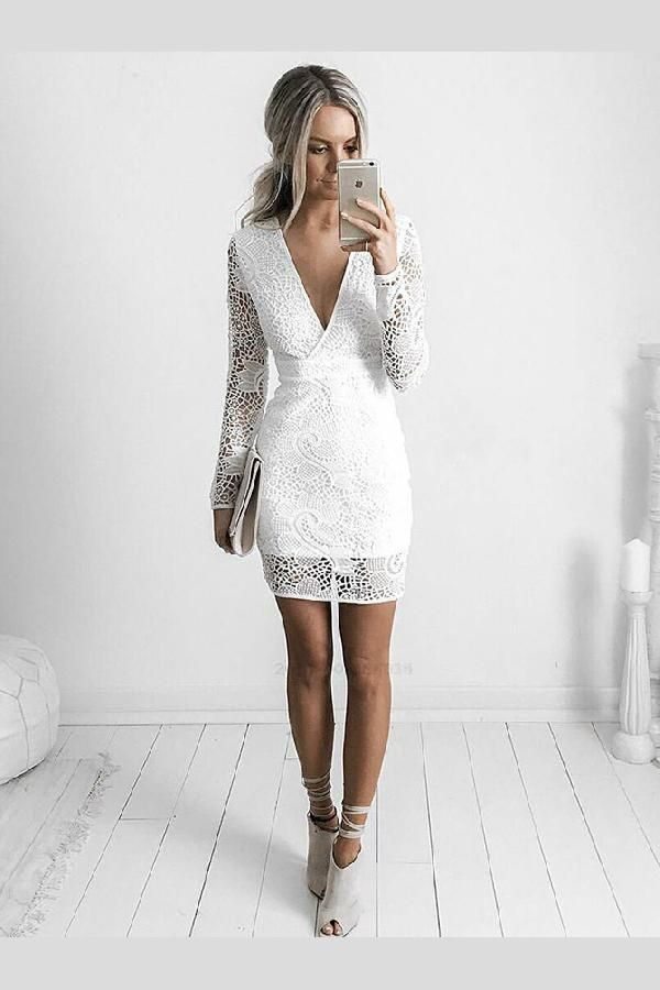 Customized Absorbing V Neck Party Dresses, Lace White Party Dresses, Party Dresses Lace, Party Dresses With Sleeves