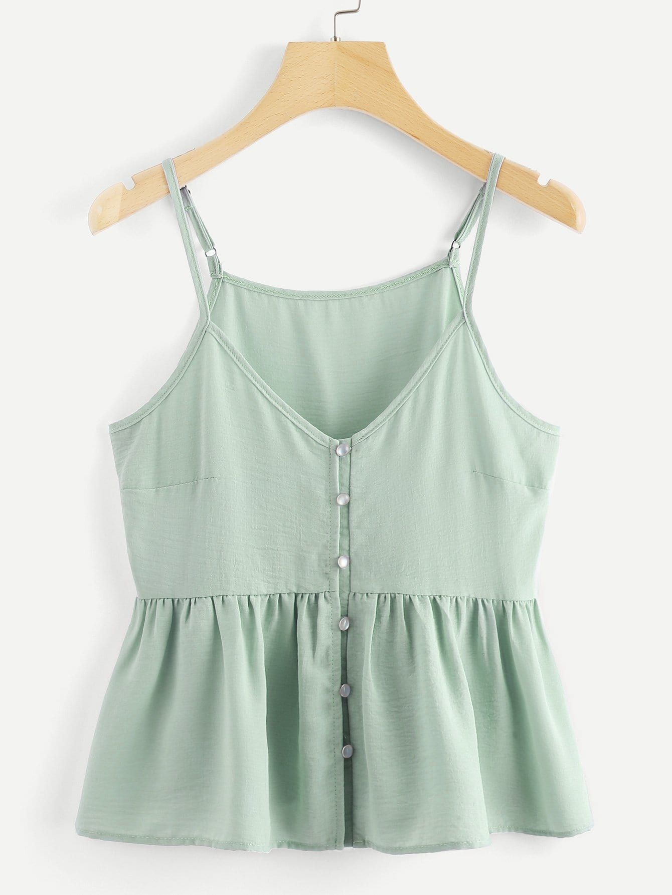 Cute Cami Plain Regular Fit Spaghetti Strap Green Regular Length Single Breasted Solid Cami Top