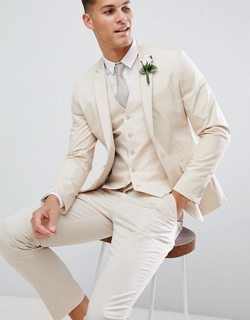 DESIGN wedding skinny suit jacket in stretch cotton in stone