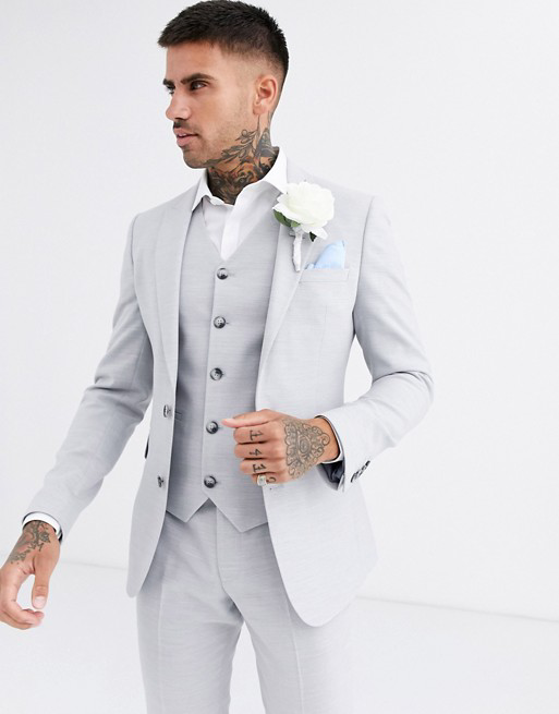DESIGN wedding super skinny suit jacket in ice gray micro texture