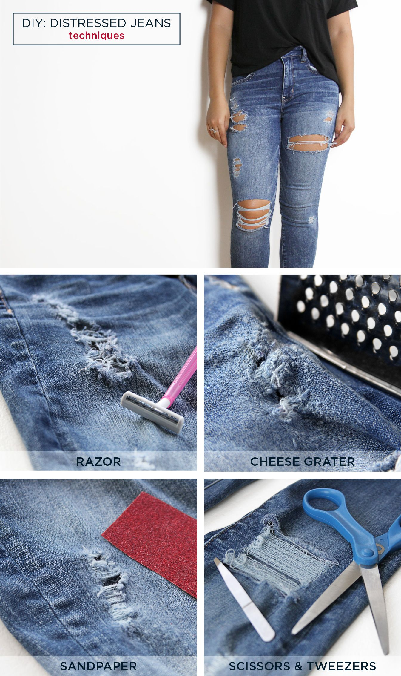 DIY: Distressed T-Shirt and Jeans
