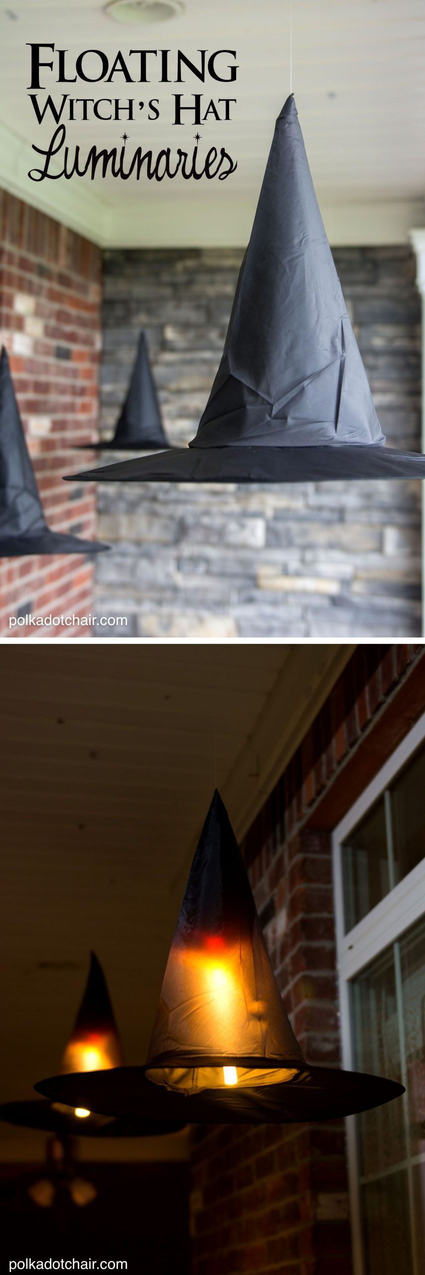 DIY Floating Witch Hat Luminaries | Polka Dot Chair