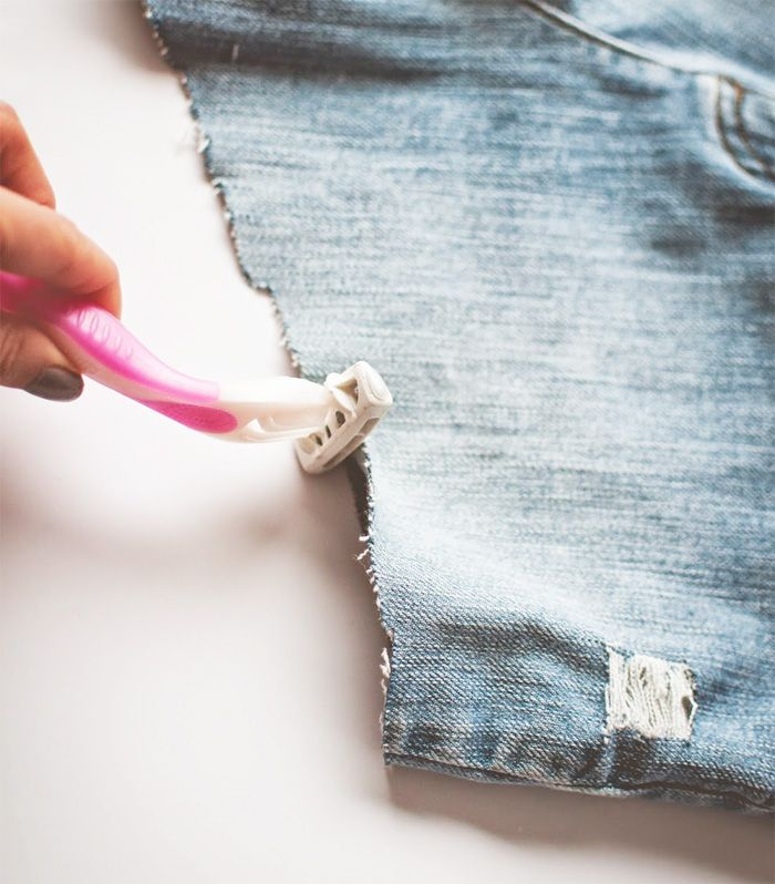 DIY High Waisted Distressed Denim Shorts