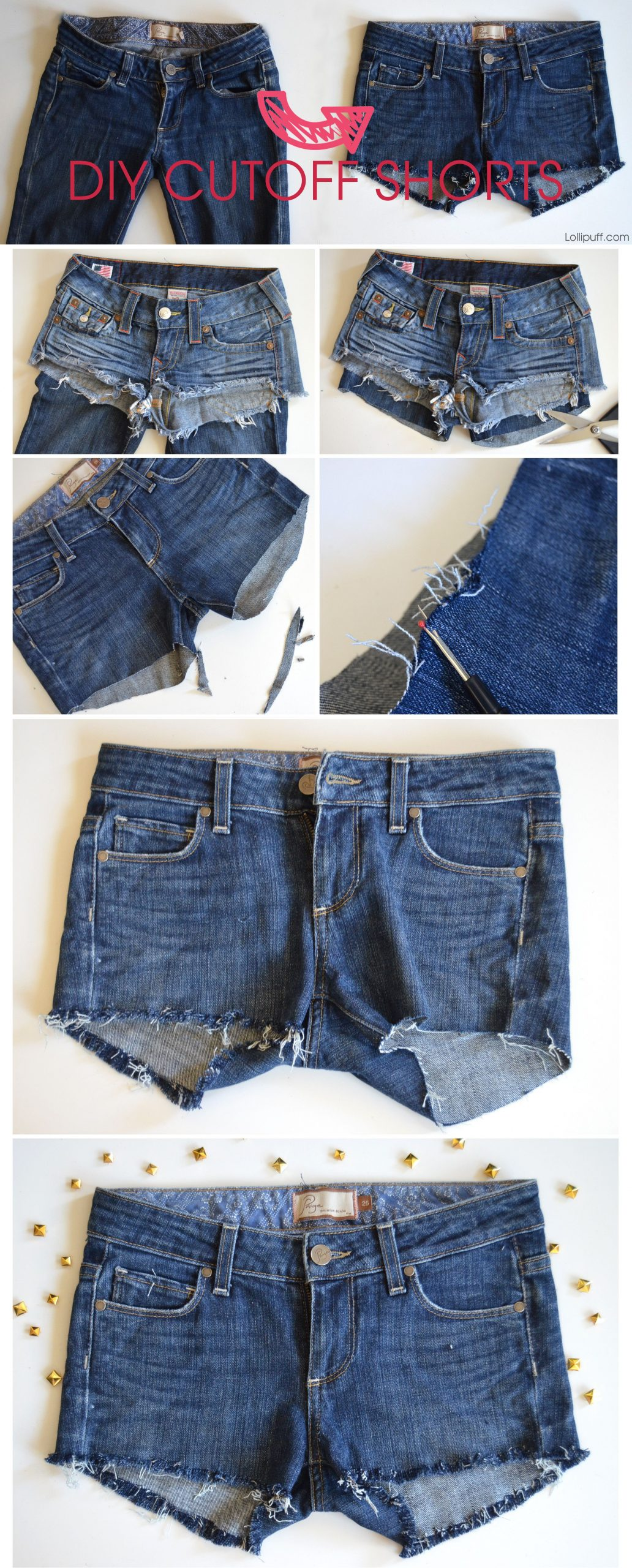 DIY cut-off shorts! We all have at least one pair of jeans that we haven't worn …
