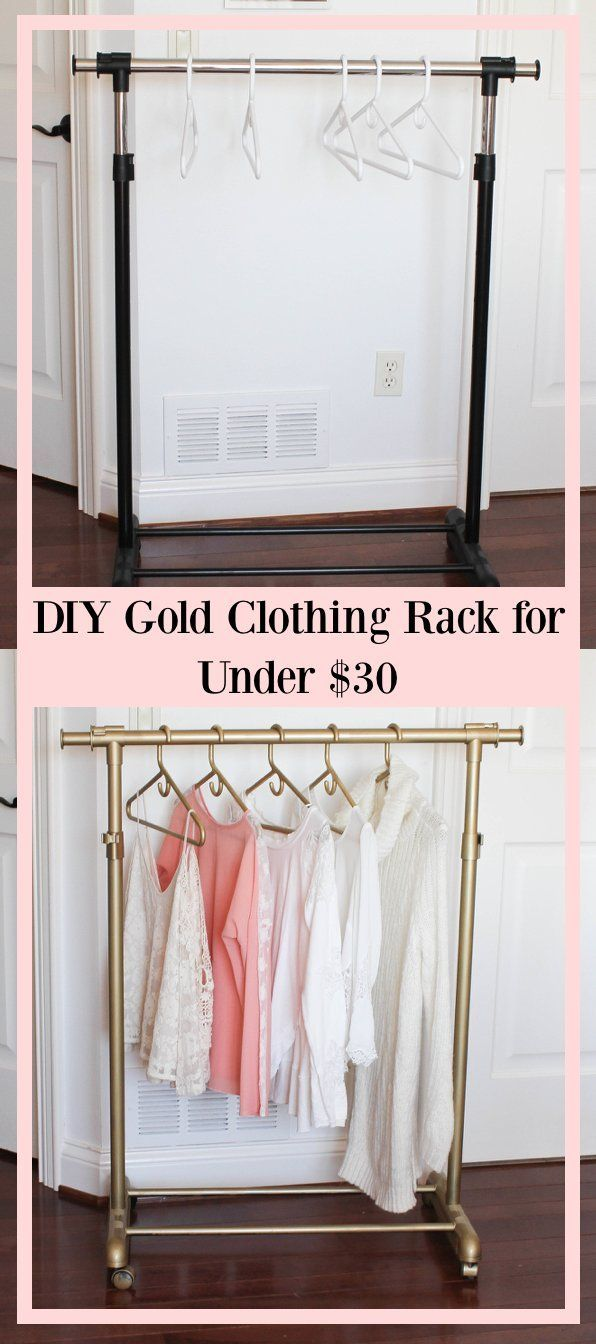 DIY gold clothing rack for UNDER $30 – garment rack – spray painted clothing…