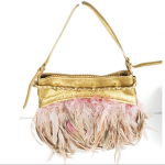 DKNY Metallic Gold Feathered Adjustable Purse DKNY Metallic Gold Feathered Adjus...