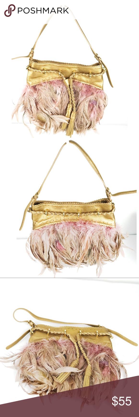 DKNY Metallic Gold Feathered Adjustable Purse DKNY Metallic Gold Feathered Adjus…